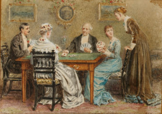George_Goodwin_Kilburne_A_good_hand; card games; of fashioned parlor games